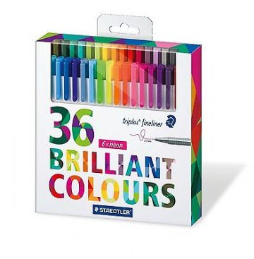 STAEDTLER TRIPLUS FINELINER FULL RANGE BOX SET OF 36 ASSORTED COLOURS 334 C36